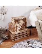Holzkiste 3er Set mit Riemen - Braun, Holz/Kunststoff