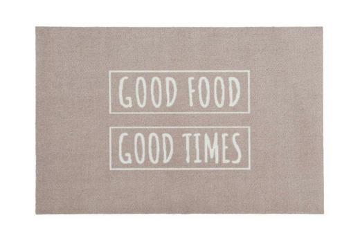 FUßMATTE 50/75 cm Schriftzug Grau, Weiß - Weiß/Grau, Basics, Kunststoff/Textil (50/75cm)