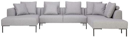 WOHNLANDSCHAFT in Textil Hellgrau - Hellgrau/Schwarz, Design, Textil/Metall (166/370/222cm) - Lomoco