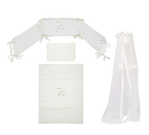 GITTERBETTSET 4-teilig Amore - Creme, Basics, Textil (100/135cm) - Patinio