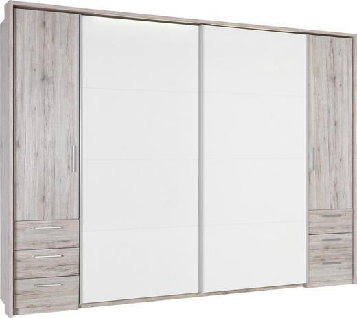 KLEIDERSCHRANK 4-türig Eichefarben, Sandfarben, Weiß - Sandfarben/Eichefarben, Design, Holzwerkstoff (267/226/58cm) - Xora