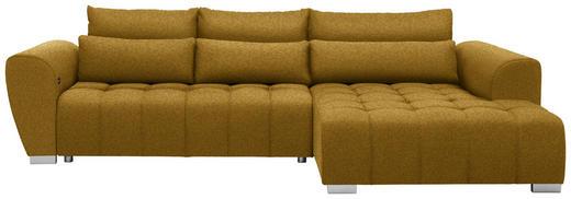 WOHNLANDSCHAFT in Textil Gelb - Gelb/Silberfarben, MODERN, Kunststoff/Textil (304/218/cm) - Carryhome