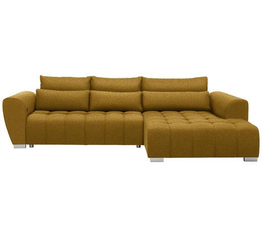 WOHNLANDSCHAFT in Textil Gelb  - Gelb/Silberfarben, MODERN, Kunststoff/Textil (304/218cm) - Carryhome