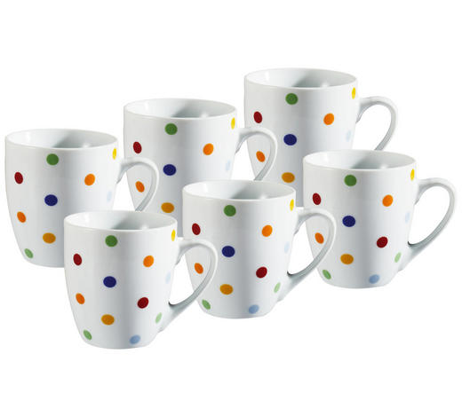 TASSENSET 6-teilig Keramik Porzellan Multicolor, Weiß  - Multicolor/Weiß, Basics, Keramik (10,5/8,3/7,5cm)