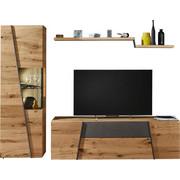 WOHNWAND Wildeiche mehrschichtige Massivholzplatte (Tischlerplatte) Grau, Eichefarben  - Eichefarben/Grau, Design, Glas/Holz (272/202/57cm) - Voglauer