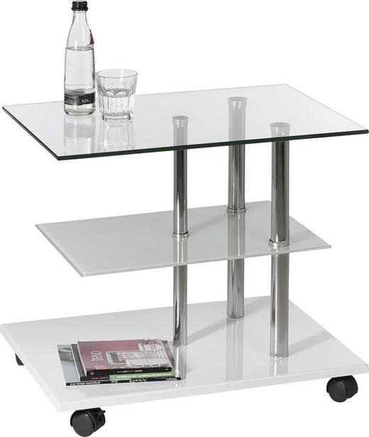 BEISTELLTISCH Klar, Weiß - Klar/Weiß, Design, Glas/Metall (55/47/40cm) - Xora