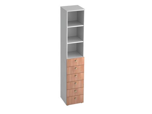 REGAL in Weiß, Nussbaumfarben - Nussbaumfarben/Alufarben, KONVENTIONELL, Holzwerkstoff/Metall (40/215,6/42cm)