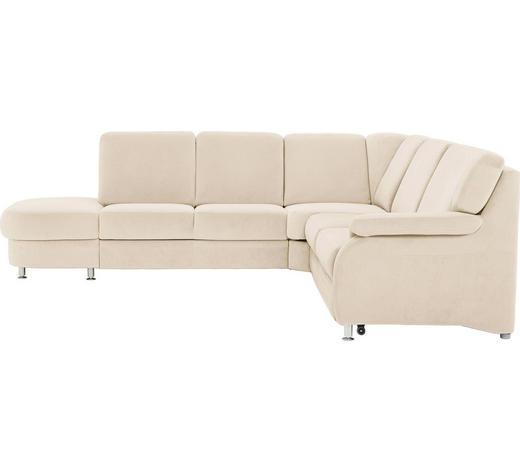 WOHNLANDSCHAFT in Textil Beige  - Beige/Alufarben, KONVENTIONELL, Textil/Metall (287/269cm) - Beldomo System
