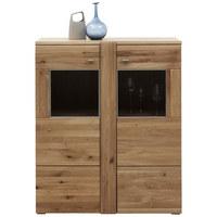 KOMODA HIGHBOARD - barvy dubu/barvy hliníku, Konvenční, kov/dřevo (101/121/38cm) - Voleo