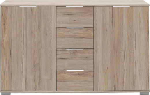 KOMMODE Eichefarben - Chromfarben/Eichefarben, Design, Holzwerkstoff/Kunststoff (130/83/41cm) - CARRYHOME