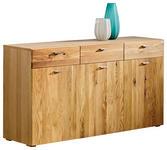 SIDEBOARD Kerneiche massiv geölt Eichefarben - Eichefarben/Bronzefarben, Design, Holz/Metall (160,1/82,5/43cm) - Hom`in
