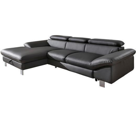 Ecksofa Anthrazit Lederlook  - Chromfarben/Anthrazit, Design, Textil/Metall (169/268cm) - Carryhome