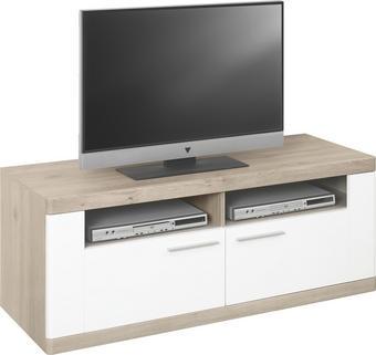 TV-ELEMENT in Eichefarben, Weiß - Eichefarben/Alufarben, Design, Holzwerkstoff/Metall (130/51/50cm) - XORA