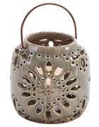 Windlicht mit Henkel  - Creme, Basics, Keramik (16/16,5cm)