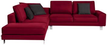 WOHNLANDSCHAFT in Textil Rot  - Chromfarben/Rot, Design, Textil/Metall (273/316cm) - Dieter Knoll