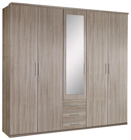 KLEIDERSCHRANK 5-türig Eichefarben - Eichefarben/Alufarben, KONVENTIONELL, Glas/Holzwerkstoff (225/210/58cm) - Carryhome