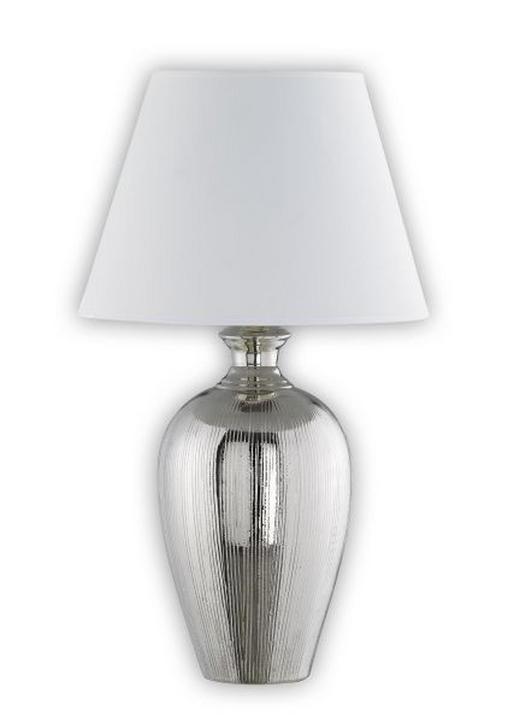 TISCHLEUCHTE - Silberfarben/Weiß, KONVENTIONELL, Keramik/Textil (61cm)