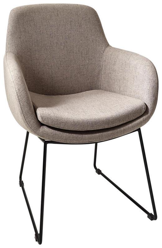 STUHL Schwarz, Taupe - Taupe/Schwarz, Design, Textil/Metall (62/86/66cm) - Musterring
