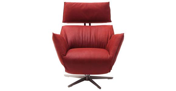 RELAXSESSEL in Leder Rot - Edelstahlfarben/Rot, Design, Leder/Metall (84/67-113/88-165cm) - Dieter Knoll
