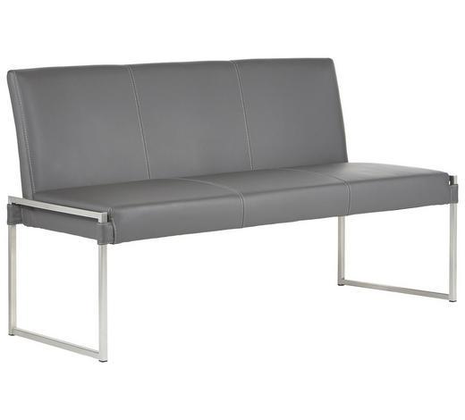 SITZBANK Echtleder Grau, Edelstahlfarben  - Edelstahlfarben/Grau, Design, Leder/Metall (160cm) - Bert Plantagie