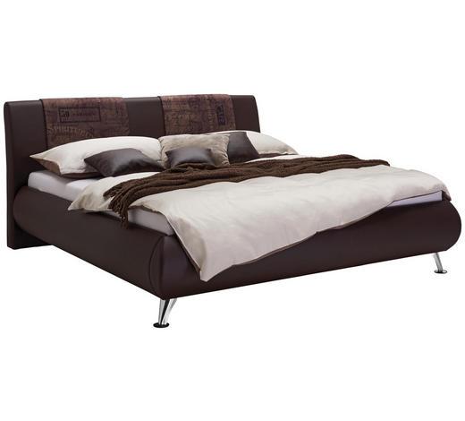 ČALOUNĚNÁ POSTEL, 180/200 cm, textil, hnědá - barvy chromu/hnědá, Design, kov/dřevo (180/200cm) - Carryhome