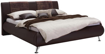 POLSTERBETT 180 cm   x 200 cm   in Textil Braun - Chromfarben/Braun, Design, Holz/Textil (180/200cm) - Carryhome