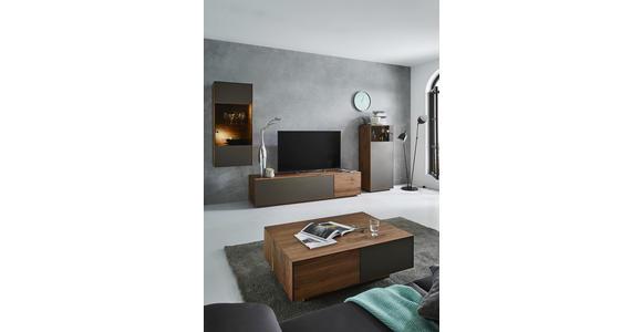 COUCHTISCH in Glas, Holz 100/100/37 cm - Nussbaumfarben/Bronzefarben, Design, Glas/Holz (100/100/37cm) - Dieter Knoll