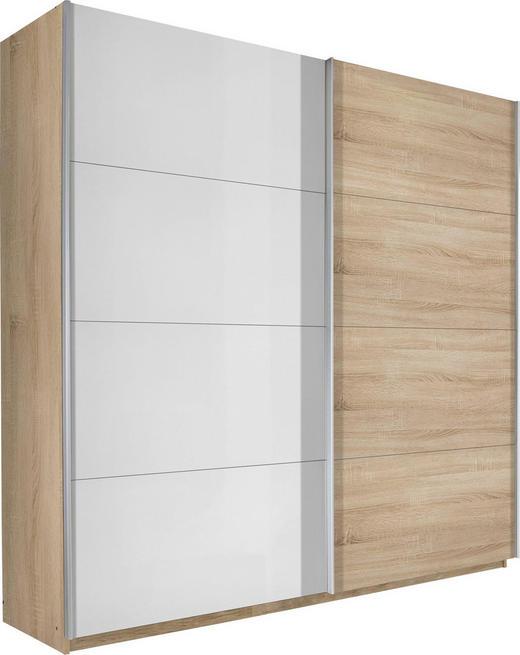 SCHWEBETÜRENSCHRANK 2-türig Sonoma Eiche, Weiß - Alufarben/Weiß, Design, Holzwerkstoff/Metall (136/223/69cm) - Carryhome