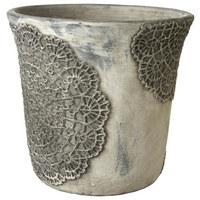 BLUMENTOPF - Grau, Design, Keramik (15/14cm)