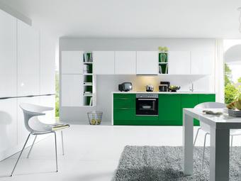 EINBAUKÜCHE - Weiß/Grün, Basics, Glas - Novel