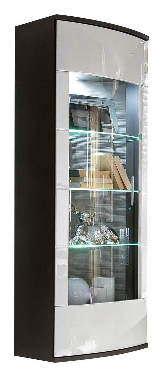 HÄNGEVITRINE in Graphitfarben, Weiß - Silberfarben/Graphitfarben, Design, Glas/Holzwerkstoff (55/165/41cm) - XORA