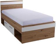 Bett Box 90x200 Artisan Eiche /Alpinweiß - Eichefarben/Weiß, MODERN, Holzwerkstoff (90/200cm) - Ombra