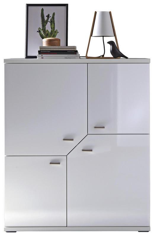 HIGHBOARD - Weiß/Grau, MODERN, Holzwerkstoff/Metall (105,1/124,4/37,2cm) - Stylife