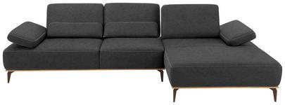WOHNLANDSCHAFT Dunkelgrau Mikrofaser  - Dunkelgrau/Beige, Design, Textil/Metall (298/178cm) - Valnatura
