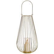 LATERNE - Goldfarben, Trend, Glas/Metall (27/48cm) - Ambia Home