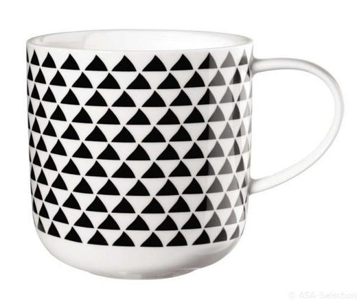 KAFFEEBECHER - Schwarz/Weiß, Trend (9,2/9,5cm) - ASA
