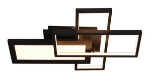 LED-DECKENLEUCHTE - Schwarz, Design, Metall (46/30/9cm) - Novel
