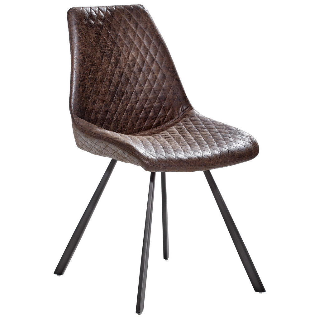 Image of Ambia Home Stuhl in metall, textil braun, grau , Rasmus , 46x86x61 cm , matt, pulverbeschichtet,Mikrofaser , 002727014102