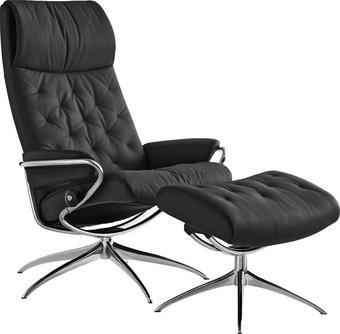 Stressless fåtölj exkl pall - alufärgad/svart, Design, metall/läder (42cm) - Stressless