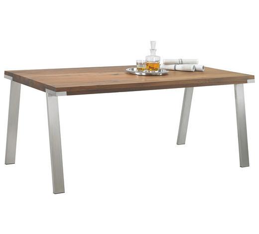 ESSTISCH in Holz, Metall 240/100/77 cm - Edelstahlfarben/Nussbaumfarben, Design, Holz/Metall (240/100/77cm) - Bert Plantagie