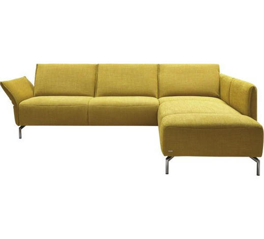 WOHNLANDSCHAFT in Textil Gelb - Edelstahlfarben/Gelb, Design, Textil/Metall (274/207cm) - Koinor