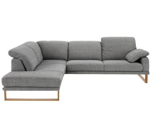 WOHNLANDSCHAFT Grau Flachgewebe  - Eichefarben/Grau, LIFESTYLE, Holz/Textil (226/281cm) - Valnatura