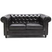 Chesterfield Zweisitzer-Sofa Lederlook Dunkelbraun - Wengefarben/Dunkelbraun, Design, Holz/Textil (174/78/96cm) - Carryhome