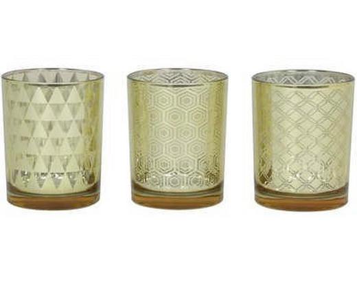 TEELICHTHALTER-SET 3-teilig - Goldfarben, Design, Glas (32/32/27cm)