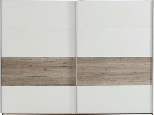 SCHWEBETÜRENSCHRANK 2  -türig Eichefarben, Weiß - Eichefarben/Silberfarben, Design, Holz/Metall (225/210/65cm) - CARRYHOME