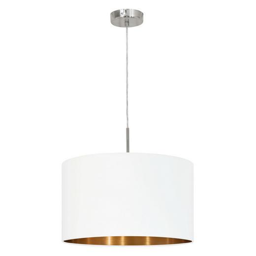 HÄNGELEUCHTE - Weiß/Kupferfarben, LIFESTYLE, Textil/Metall (38/110cm)