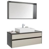 KOUPELNA, šedá - bílá/šedá, Design, kompozitní dřevo/sklo (120cm) - Novel