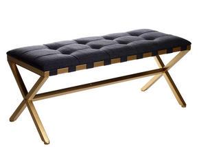 SITTBÄNK - grå/guldfärgad, Design, metall/textil (110/45/47cm)