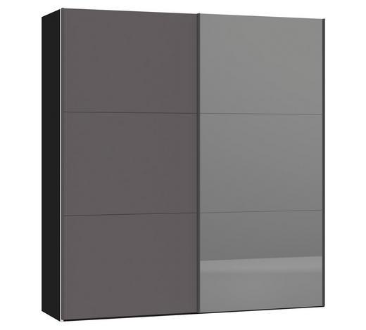 SCHWEBETÜRENSCHRANK in Schwarz, Dunkelgrau  - Dunkelgrau/Silberfarben, Design, Glas/Holzwerkstoff (202,5/220/46cm) - Jutzler