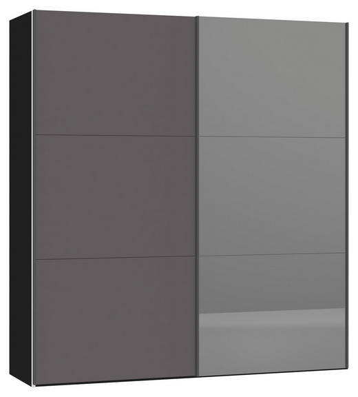 SCHWEBETÜRENSCHRANK 2-türig Dunkelgrau, Schwarz - Dunkelgrau/Silberfarben, Design, Glas/Metall (202,5/220/46cm) - Jutzler
